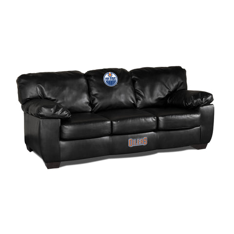 EDMONTON OILERS BLK LEATHER CLASSIC SOFA