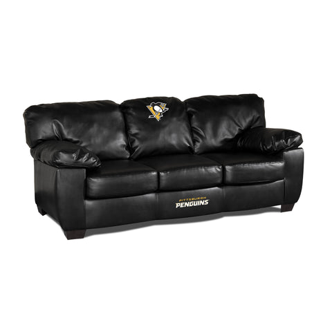 PITTSBURGH PENGUINS BLK LEATHER CLASSIC SOFA