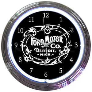 FORD MOTOR COMPANY 1903 HERITAGE EMBLEM NEON CLOCK