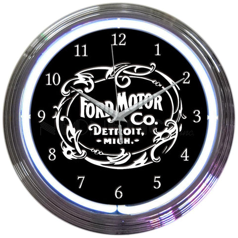 Jeconiah Ford Motor Company 1903 Heritage Emblem Neon Clock