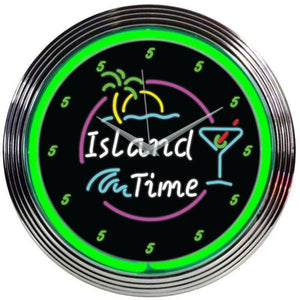 Beaumont Island Time Neon Clock