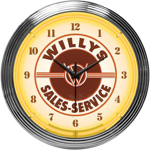 Shayne Jeep Willys Sales Service Neon Clock
