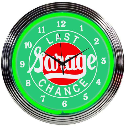 Hrólfr Last Chance Garage Neon Clock