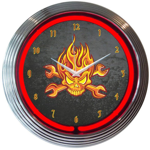 Larkin Mechanic Fire Skull And Wrenches Neon Clock