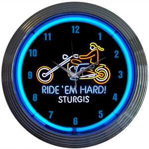 Papak Motorcycle Ride Em Hard Sturgis Neon Clock