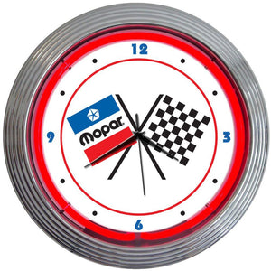 Dubhghall Mopar Checkered Flag Neon Clock