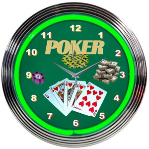 Hall Poker Green Neon Clock