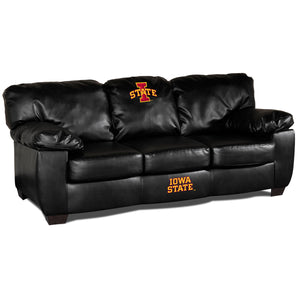 IOWA STATE UNIVERSITY BLK LEATHER CLASSIC SOFA