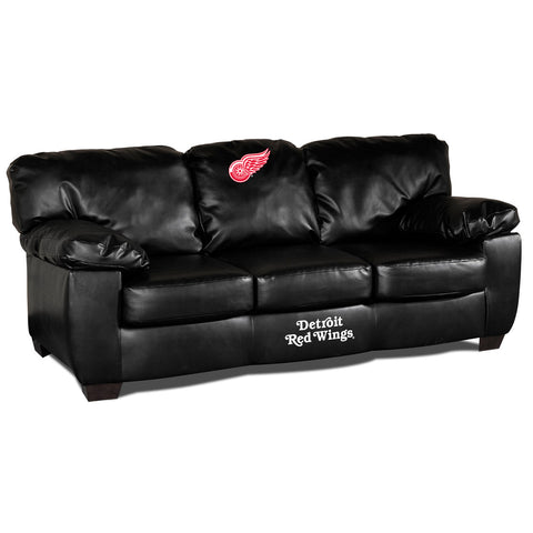 DETROIT REDWINGS BLK LEATHER CLASSIC SOFA