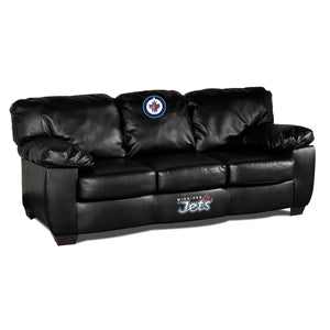 WINNIPEG JETS BLK LEATHER CLASSIC SOFA