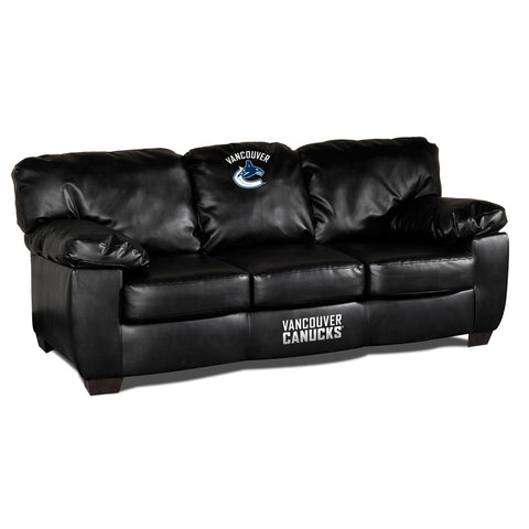 VANCOUVER CANUCKS BLK LEATHER CLASSIC SOFA