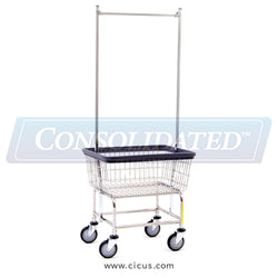 R & B Wire Standard Laundry Cart w/ Double Pole Rack (100E58)