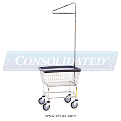 R & B Wire Standard Laundry Cart w/ Single Pole Rack (100E+93)