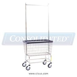 R & B Wire Large Capacity Laundry Cart w/ Double Pole Rack (200F56)