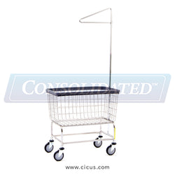 R & B Wire Large Capacity Laundry Cart w/ Single Pole Rack (200F91)