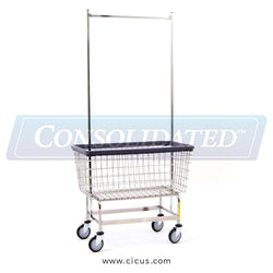 R & B Wire Mega Capacity 'Big Dog' Laundry Cart w/Double Pole Rack (201H56)