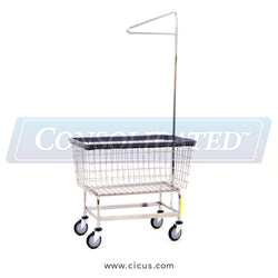 R & B Wire Mega Capacity 'Big Dog' Laundry Cart w/Single Pole Rack (201H91)