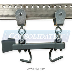 White Conveyors Double Yoke Trolley w/2 Hooks and Bar (WT100-T-DBL)
