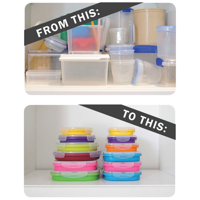 FLAT STACKS FOOD STORAGE CONTAINER SET (4 RECTANGLE) - oceansales.ca