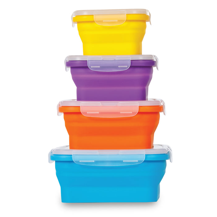 FLAT STACKS FOOD STORAGE CONTAINER SET (4 SQUARE)