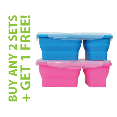 FLAT STACKS FOOD STORAGE CONTAINER SET (2 LUNCH BOXES) + OFFER