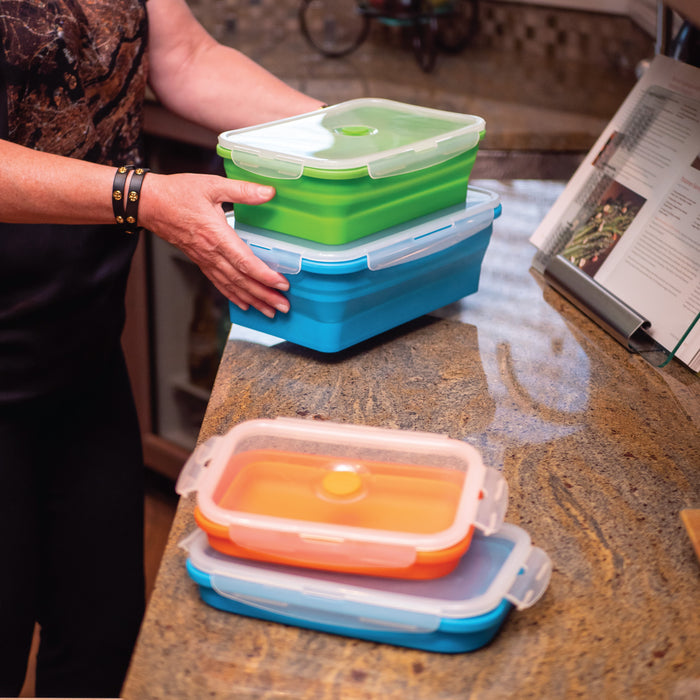 FLAT STACKS FOOD STORAGE CONTAINER SET (4 RECTANGLE)