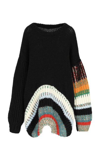 Hand made black sweater multi coloured circle