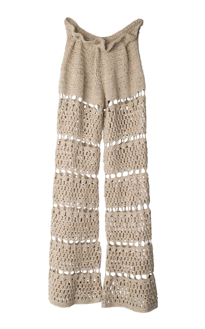 Beige handcrochet wide legged pants