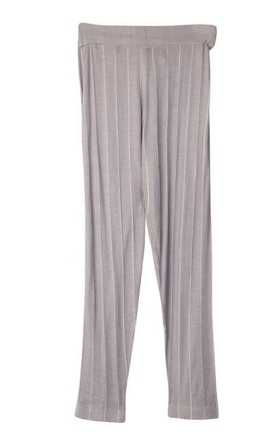 Dark grey with light grey stripes of trousers, with elastic bottom