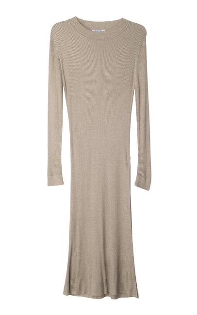 Beige taupe tunique dress with one slit on the side