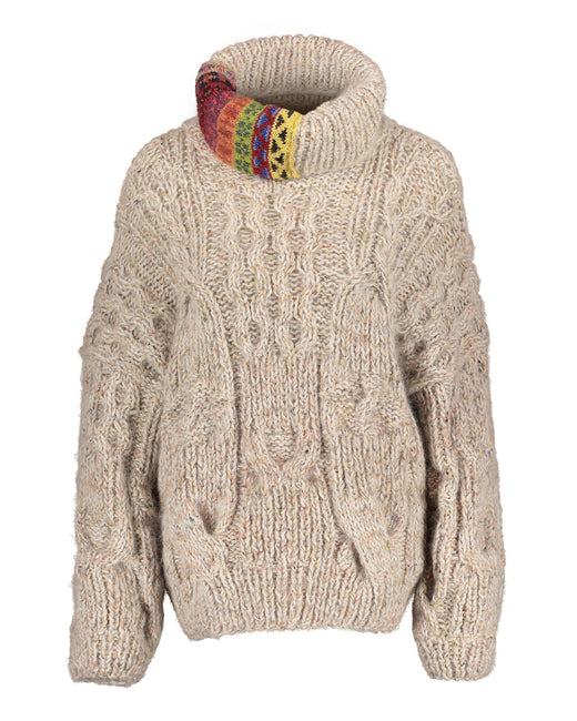 Sweater with fair isle patch on turtleneck