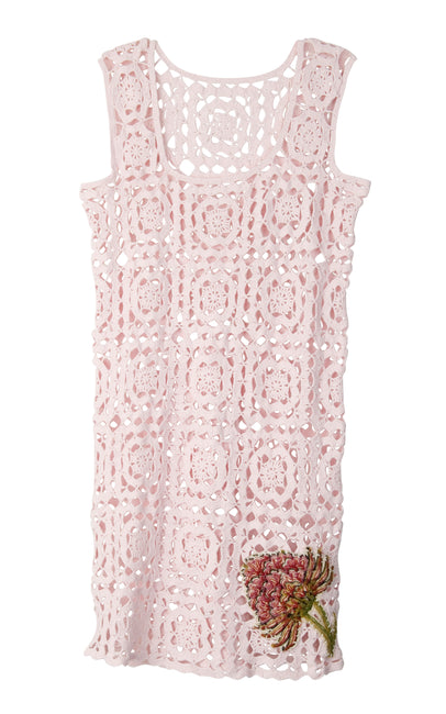 Pink crochet minidress with embroided flowers