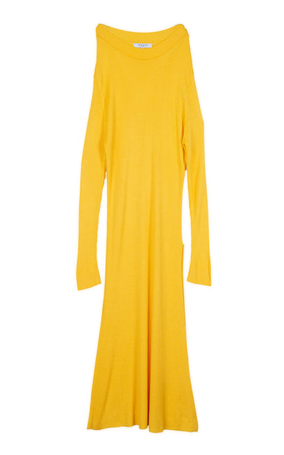 Rib stitch yellow tunique dress with one slit on the side