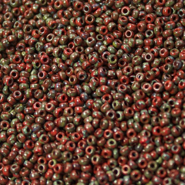 11/0 Miyuki SEED Bead - Opaque Red Picasso
