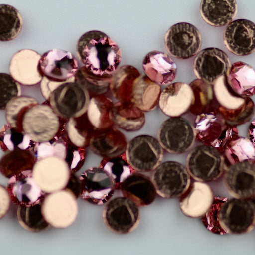 Swarovski 2078 XIRIUS ROSE SS20 Silver-Foiled Hotfix Flat Backs - Light Rose