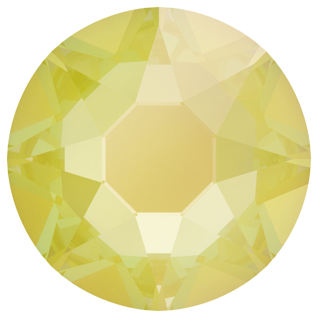 Swarovski 2078 XIRIUS ROSE SS20 Silver-Foiled Hotfix Flat Backs - Electric Yellow Delite***