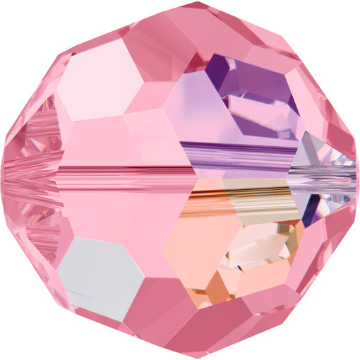 Swarovski 5000 8mm FACETED ROUND Bead - Light Rose AB