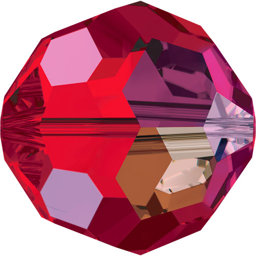 Swarovski 5000 8mm FACETED ROUND Bead - Light Siam AB