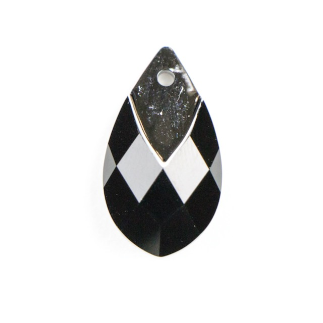 Swarovski 6565 22mm Metallic Cap Pear-Shaped Pendant - Jet Light Chrome