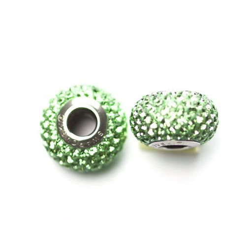 Swarovski 80101 14mm x 9.3mm Becharmed Pave´ Beads - Peridot