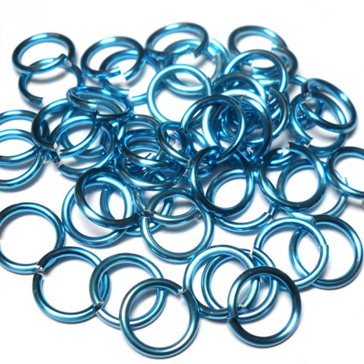 16swg (1.6mm) 1/4in. (6.6mm) ID 4.2AR Anodized  Aluminum Jump Rings - Sky Blue