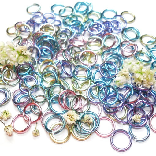 16swg (1.6mm) 1/4in. (6.6mm) ID 4.2AR Anodized  Aluminum Jump Rings - Spring Fling Mix