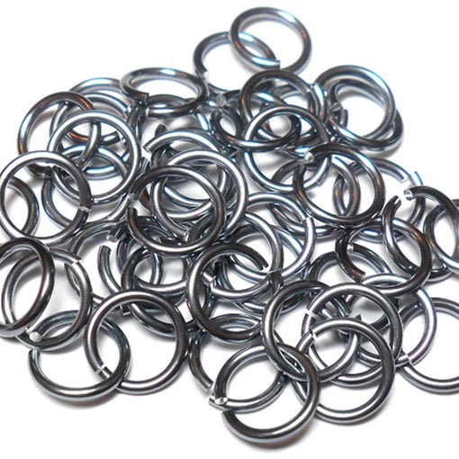 16swg (1.6mm) 3/8in. (10.1mm) ID 6.4AR Anodized  Aluminum Jump Rings - Black Ice