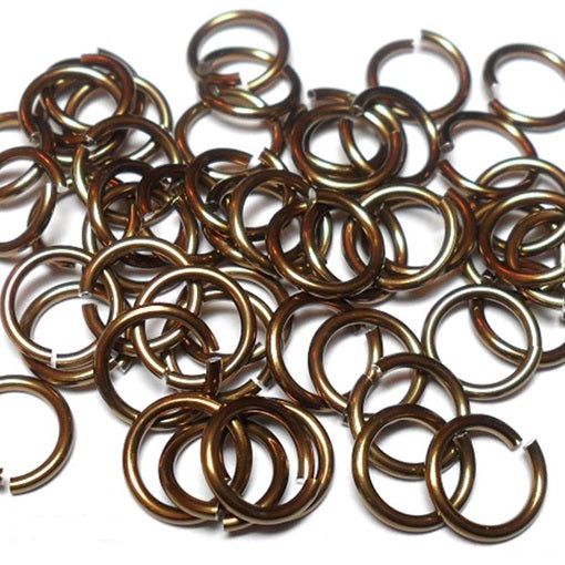 16swg (1.6mm) 3/8in. (10.1mm) ID 6.4AR Anodized  Aluminum Jump Rings - Brown