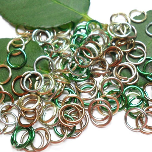 16swg (1.6mm) 3/8in. (10.1mm) ID 6.4AR Anodized  Aluminum Jump Rings - Forest Mix