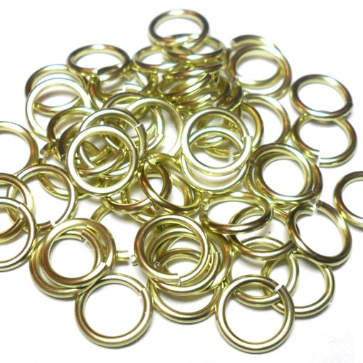 16swg (1.6mm) 3/8in. (10.1mm) ID 6.4AR Anodized  Aluminum Jump Rings - Lemon-Lime