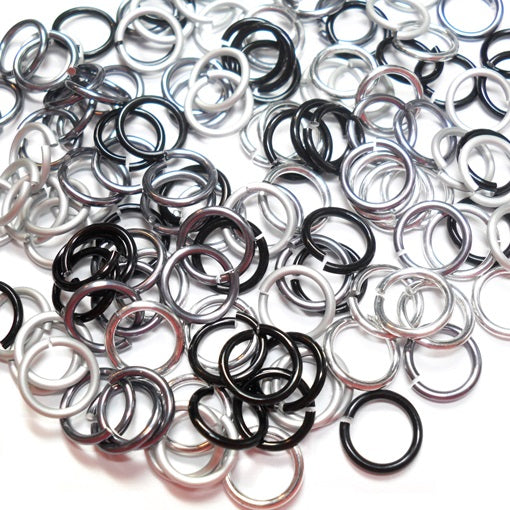 16swg (1.6mm) 3/8in. (10.1mm) ID 6.4AR Anodized  Aluminum Jump Rings - Midnight Mix