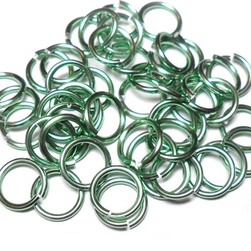 16swg (1.6mm) 3/8in. (10.1mm) ID 6.4AR Anodized  Aluminum Jump Rings - Seafoam