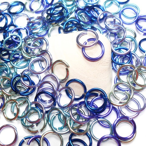 16swg (1.6mm) 5/16in. (8.3mm) ID 5.2AR Anodized  Aluminum Jump Rings - Oceanview Mix