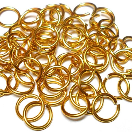 16swg (1.6mm) 7/32in. (5.7mm) ID 3.6AR Anodized  Aluminum Jump Rings - Gold